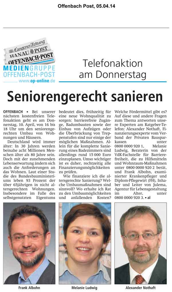 "Offenbach Post vom 5. April 2014 ""Seniorengerecht sanieren"""